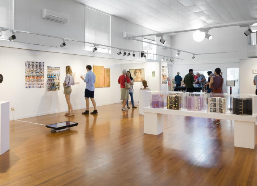 Installation view of Portraiture at Mairangi Arts Centre, Auckland, 2019. Image courtesy and copyright of Artsdiary